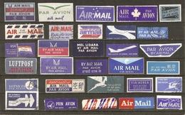 Monde - Etiquette AIR MAIL - Par Avion - Petit Lot De 25 Vignettes Différentes - Poste Aérienne - Briefmarken