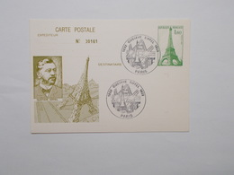 CARTE POSTALE AVEC CACHET GUSTAVE EIFFEL NUMEROTE 00161 - Postal Stamped Stationery