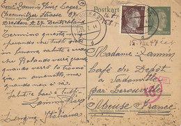 Entier Postal 6 Pfg + 10 Pfg De Dresden Pour La France , 07/1944 - Germany
