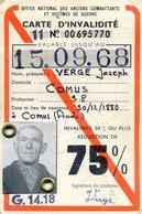 Carte D'invalidité 75% - Office National Des Anciens Combattants - Joseph VERGE- Comus - Aude - Maps