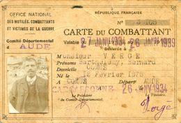 Carte De Combattant - Office National Des Anciens Combattants - Batthelemy VERGE- Comus - Aude - Cartes