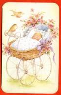 Carte Avis De Naissance Faire Part Bébé Landau Oiseaux Fleurs Carte Vierge TBE - Naissance