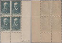 FRANCE Yv 377 BLOC DE 4 COIN DE FEUILLE DATE 28/02/1938 NEUF (AIX3170) DC-1740 - France