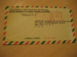 MONTERREY 1967 To New York USA Cancel Meter Air Mail Biblioteca Library Cover MEXICO Mejico - Mexico