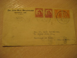 PAPANTLA 1939 To SdC 4 Stamp Cancel Cover MEXICO Mejico - Mexique