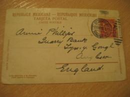 VERACRUZ 1908 To England Stamp Cancel On Puebla La Alameda Post Card MEXICO Mejico - Mexico