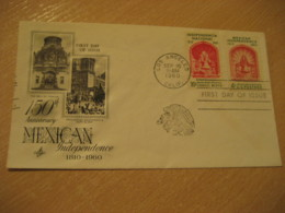 LOS ANGELES 1960 Mexican Independence Bell Independencia USA FDC Cancel Cover MEXICO Mejico - Mexique