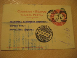 NUEVO LAREDO 1928 To Barcelona Spain AMBULANTE Cancel Postal Stationery Card MEXICO Mejico - Mexiko