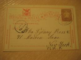 GUANAJUATO 1898 To New York USA Cancel Postal Stationery Card MEXICO Mejico - Mexiko