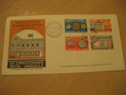 ANGUILLA ST. CHRISTOPHER NEVIS Basseterre 1973 ECCA Headquarters Set Stamp FDC Cancel Cover British Area West Indies - Anguilla (1968-...)