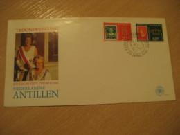 Netherlands Antilles Curaçao 1980 Enthronement Royalty Stamp On Stamp FDC Cancel Cover West Indies - Antilles