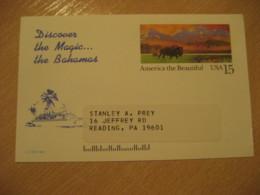 BAHAMAS Tourism Card Southeastern Travel Corporation To Reading USA Postal Stationery Card West Indies British Area - Bahamas (1973-...)