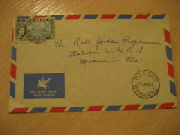 BAHAMAS Nassau 1954 To Miami USA Stamp Cancel Air Mail Cover West Indies British Area - Bahamas (1973-...)