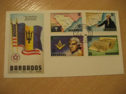 BARBADOS 1976 American Bicentennial Masonry Master Lodge Map ... FDC Cancel Cover British Area West Indies - Barbades (1966-...)