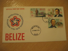 BELIZE 1976 American Bicentennial USA Lindbergh FDC Cancel Cover British Honduras British Area - Belize (1973-...)
