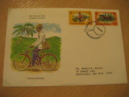 CAYMAN ISLANDS 1980 London England Mail Carrier Postal Delivery FDC Cancel Cover West Indies British Area - Iles Caïmans