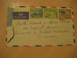 BRITISH GUIANA 1955 Vancouver Canada British Columbia 3 Stamps On Cancel Air Mail Cover GUYANA British Colonies GUYANA - Guyane (1966-...)
