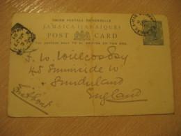 SAVANNA-LA-MAR Savanna La Mar 1891 To England Kingston Cancel Postal Stationery Card JAMAICA British Colonies - Jamaique (1962-...)