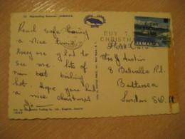 KINGSTON 1969 To London England Industry Stamp Christmas Cancel Harvesting Bananas Banana Post Card JAMAICA British Area - Jamaique (1962-...)
