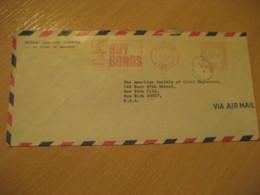 KIRKVINE 1968 To New York USA Buy Bonds Cancel Meter Air Mail Cover JAMAICA British Area West Indies - Jamaique (1962-...)