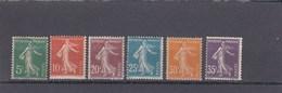 Type Semeuse Fond Plein Sans Sol - 1907  - YT N° 137** à 142** - Unused Stamps