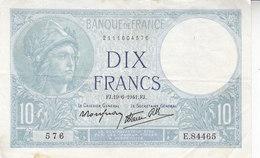 Billet 10 F Minerve Du 19-6-1941 FAY 7.29 Alph. E.84465 - 1871-1952 Anciens Francs Circulés Au XXème