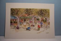 SAINT PAUL DE VENCE  --La Pétanque   -- Edith Mut  ( Illustratrice ) - Pétanque