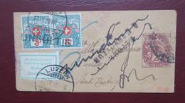 Type Blanc Bande Journal Entier Postal Pour La Suisse Retour Envoyeur Et Taxe Suisse 1918 - Poststempel (Briefe)