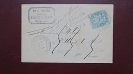 Type Blanc N° 111 Seul Sur Lettre De  Fresne St Mamès Haute Saone Retour Envoyeur 1418 Vallerois Le Bois 1904 - Storia Postale