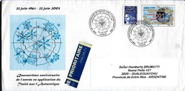 AANT-168 FRANCE,ANTARCTICA 2001 ANNIIVERSAIRE TRAITE ANTARCTIQUE ENTERE POSTALE UPRATED TO ARGENTINA - Trattato Antartico
