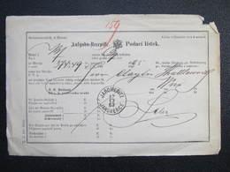 Aufgabs Recepisse Jaromeritz Jaromerice 1883 ///  D*36242 - Briefe U. Dokumente