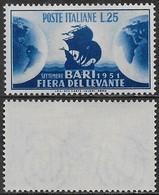 Italia Italy 1951 Fiera Del Levante Bari Sa N.670 Nuovo Integro MNH ** - 1946-60: Nuovi