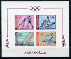 Ajman, 1965, Olympic Summer Games Tokyo, Sports, MNH Imperforated, Michel Block 2B - Ajman