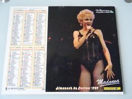 Almanach Ptt De 1989     Recto   Madonna   Verso   Mickael  Jackson - Calendriers