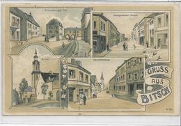 57 BITSCH . Grüss En Quatre Clichés , édit : ? , écrite En 1910 , état Bien , Sauf Mini Coupure En Bas Consolidée , Pli - Bitche