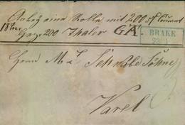 1845, Ca. Geldbrief Ab BRAKE Nach Varel. - Oldenburg