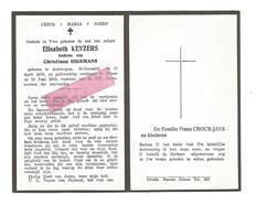 D 557. ELISABETH KEYZERS  Wed. C. Biesmans - °ANTWERPEN, ST-LEONARD  1874 / +BILZEN 1953 - Images Religieuses