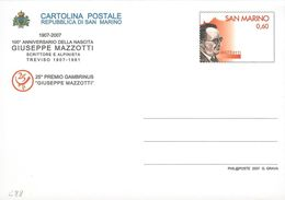 """INTERO POSTALE CENTENARIO NASCITA GIUSEPPE MAZZOTTI 2007 - 0,60 EURO - CATALOGO FILAGRANO """"C88"""" - NUOVO - Interi Postali"""