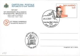 "INTERO POSTALE CENTENARIO NASCITA GIUSEPPE MAZZOTTI 2007 - 0,60 EURO - CATALOGO FILAGRANO ""C88"" - FDC - Postwaardestukken"