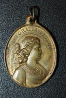 "Magnifique Pendentif Médaille Religieuse XIXe ""Notre-Dame De Grâce De Cotignac / Ange Gardien"" Var - Religious Medal - Religión & Esoterismo"