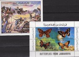 Muktar 1980 Libye Blocks 49+52 ** 4€ Martyrium Schmetterling Colias Crocea Ss Butterfly Blocks History Sheet Bf LAR - Timbres