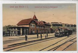 57 BITCHE . BITSCH . Bonjour De La Gare En Couleur , Beau Train, édit : Jakob-Riegel  , écrite Années 10 , état Extra - Bitche
