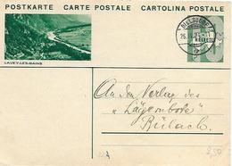 """164 - 35 -  Entier Postal Avec Illustration """"Lavey-les-bains"""" Superbe Cachet à Date Dielsdorf 1934 - Stamped Stationery"""