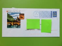 PAP - Entier Postal - Logo Bleu - Repiquage Village Brusque - Aveyron (12) - Cachet 18.09.08 - Entiers Postaux