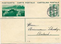 "164 - 42-  Entier Postal Avec Illustration ""Blonay"" Avec Superbe Cachet à Date Dielsdorf"" 1934 - Stamped Stationery"