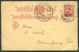 1915 Thailand Stationery Postcard 'The Siam Society' Meeting, Bangkok Times Office, Local Useage - Thailand