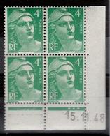 Coin Daté YV 807 N** Gandon Du 15.11.48 (plutot Vert Que Emeraude) - 1940-1949