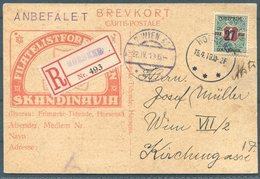 1919 Registered Horsens Philatelic Exhibition Advertising Postcard - Wien Austria. 27ore/1kr Newspaper Stamp Overprint - Covers & Documents