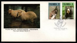 COLOMBIA- KOLUMBIEN- 1992. FDC/SPD. NATIVE FAUNA, OWL AND BEAR - Colombia