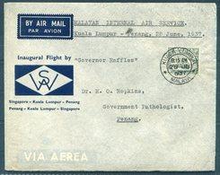 1937 Malaya Imperial Airways First Flight Cover Kuala Lumpur - Penang. 'Governor Raffles' - Malayan Postal Union